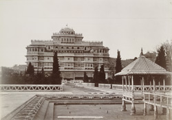 The Indur Mahal [?Chandra Mahal] from the garden, Jeypore